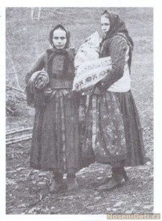 Grandmother and godmother at baptism into the church. Southeast Moravia 1917-1927