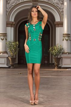 This green bandage dress has a stretch fit for a sexy, figure-hugging look.