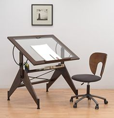 $176 76degree Tilt Amazon.com: STUDIO DESIGNS Aries Glass Top Drafting Table