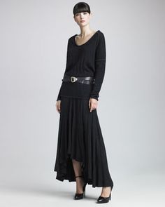 Donna Karan Dropped-Shoulder Double-Face Top, Asymmetric-Hem A-Line Skirt & Shield Buckle Belt - Neiman Marcus
