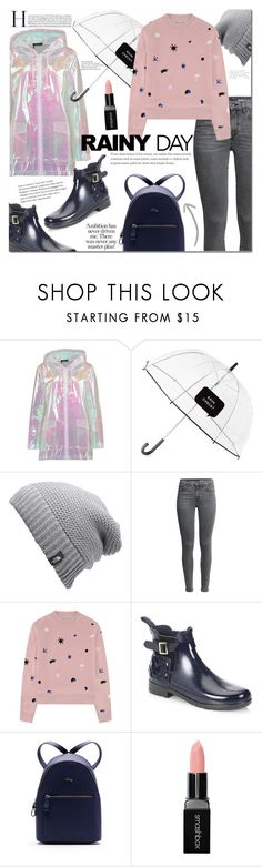 """rainy day"" by mery90 ❤ liked on Polyvore featuring Boohoo, Kate Spade, The North Face, Être Cécile, Hunter, Lacoste, Smashbox and rainyday"