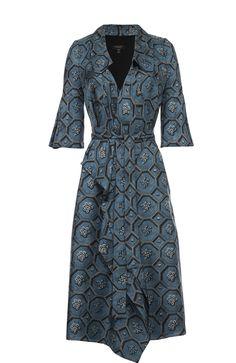 Женское синее шелковое платье с запахом с поясом и коротким рукавом Burberry, сезон FW 16/17, арт. 4545439 купить в ЦУМ | Фото №1
