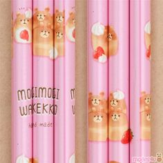wooden pencil by Mind Wave with bears as bread, 1 pencil, pencil lead: B, length: made in Japan Wooden Pencils, Japanese Stationery, Pink Animals, Cute Designs, Food Print, Kawaii, Symbols, Bread, Art Supplies