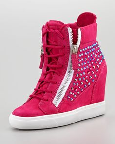 High-Top Crystal-Panel Wedge Sneaker, Fuchsia by Giuseppe Zanotti at Neiman Marcus. Sneaker High Heels, High Top Wedge Sneakers, Sneakers Mode, Pink Sneakers, Sneakers Fashion, Wedge Shoes, Sneaker Wedges, Fashion Shoes, High Heel Boots