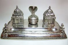 Indian Silver Double Inkwell with Cobra, from Joseph Cohen