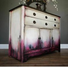 SOLD I m really liking these shades of deep berry pink lately if you can t tell This time I paired it with a dirty white dark stained top and bronze on the pulls This smaller buffet measures 36 tall 425 It will be available tonight at Funky Furniture, Refurbished Furniture, Paint Furniture, Upcycled Furniture, Furniture Projects, Furniture Makeover, Refurbished Phones, Bedroom Furniture, Furniture Design