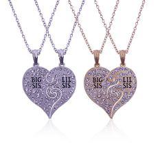 2017 Big Sis Lil Sis Big Sister Little Sister Best Friends Forever  Broken Heart Necklace Rhinestone Pendants Gift 2PC/Set