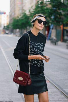 Mini leather skirt, head scar, burgundy handbag + printed black sweater seen on #Polienne in Antwerp | Styletorch.com