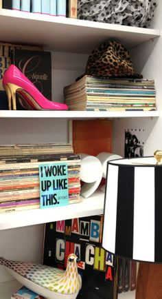 dana's desk serves as a showplace for her favorite pair of kate spade new york karolina heels and a growing collection of antique books. (kate spade new york home)