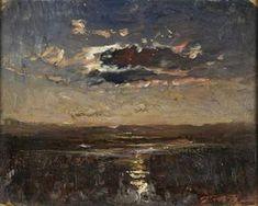 Auguste FrançoisRavier: Kuu pilven takana, 24x31 cm.