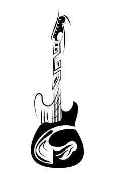 Tribal Guitar by devilanonymous on DeviantArt Guitar Tattoo Design, Music Tattoo Designs, Tribal Tattoo Designs, Music Tattoos, Guitar Drawing, Guitar Painting, Guitar Art, Music Drawings, Dark Art Drawings