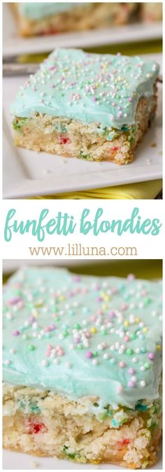 Funfetti Blondies - made with a funfetti cake mix and a few extra ingredients, these babies are easy peasy!! So yummy with delicious homemade frosting on top! by Gloria Garcia