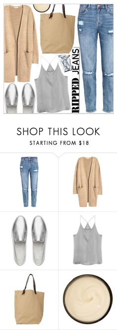 """""""Style This Trend: Ripped Jeans"""" by martso ❤ liked on Polyvore featuring H&M, FitFlop, Levi's, White Label, Prtty Peaushun, Christophe Robin, casualoutfit, rippedjeans and contestentry"""