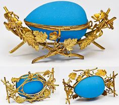 beautiful French opaline egg casket