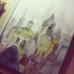 drawing painting Prague Czech republic draw city