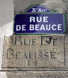 Rue de Beauce, ancienne et moderne graphie (Paris 3ème)