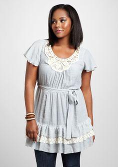 PERCH Plus Flutter Sleeve Crochet Dress