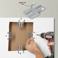 Fast Patch Backing - If you're installing a drywall patch, you've got to screw the patch to something. Usually, that means installing wood backing. But here's a quicker, easier way: Screw drywall repair clips to the surrounding drywall and screw in the pa How To Patch Drywall, Drywall Repair, Patching Drywall, Drywall Finishing, Fixing Drywall Holes, Patching Holes In Walls, Home Improvement Projects, Home Projects, Gypse