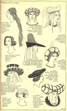 Village Hat Shop Gallery :: Chapter 7 - Medieval or Gothic Europe : Medieval Hats, Medieval World, Medieval Fashion, Medieval Clothing, Medieval Fantasy, Renaissance Costume, Medieval Costume, Medieval Dress, Historical Costume
