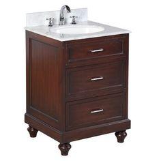 Home :: Bathroom Vanities :: Amelia Vanity (Carrara/Chocolate) 24 Inch Vanity, Vanity Set, Carrara Marble Countertop, Countertops, Small Bathroom Sink Vanity, Bathroom Vanities, Kitchen Bath Collection, Modern Sink, Ceramic Sink