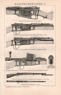 1898 Old Firearms Antique Print Vintage Lithograph by Craftissimo