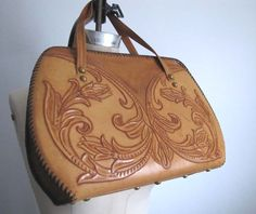 1970's Hand Tooled Leather Purse by FoxGlovesAndFinery on Etsy, $45.00