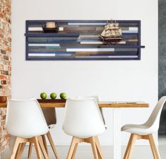 Beautiful Unique Blue Wall Art with shelves made from a variety of different woods. Modern Decor for your Home.