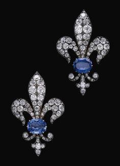 I REALLY NEED THESE !!!!!!!!!!!!! Sapphire and diamond Fleur de Lis earrings.