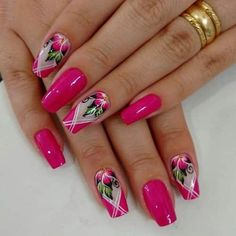 Pink unhas simples e lindas, unhas chiques, unhas bonitas, unhas lindas, un Light Pink Nail Designs, Flower Nail Designs, Flower Nail Art, Beautiful Nail Designs, Nail Art Designs, Hot Nails, Pink Nails, Gorgeous Nails, Pretty Nails