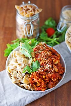 Pasta With Tempeh Bolognese.