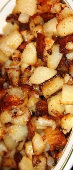 "SOUTHERN FRIED POTATOES ""Southern fried potatoes, also known as Southern style hash brown potatoes, or, simply soft fried potatoes, are cubed peeled russets, that are first steamed and then pan fried like hash browns, tender inside, but with crispy outer edges."" SO GOOD!!! 