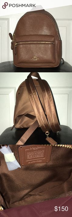 Chocolate Coach Backpack Mini Authentic Coach, Coated Canvas Material , inside and outside pockets with zipper closure, NEW WITHOUT TAG WORN TWICE, 10' long, 8' wide, adjustable straps Coach Bags Backpacks