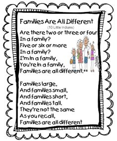 Families Are All Different Song (Tune: Ten Little Indians). This song could be a great start to a unit about culture and the kids can learn about what makes their family different and unique. Preschool Family Theme, Preschool Poems, All About Me Preschool, About Me Activities, Preschool Lessons, Preschool Classroom, Classroom Activities, In Kindergarten, Preschool Music