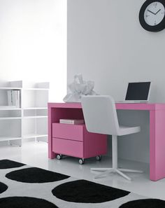 Appealing Modern Office Desk With Pink Accent Color Combined Base Cabinet Organizer Glides Also Fancy Star Chairs And Cool Laptop Attached On White Wall Paint Featuring Polka Dot Rug For Work From Home Desk Ideas. The work desk is very sweet and savory in the eye. Alluring pink color combined with white laptop gives the impression of a modern and luxurious. Unique drawer hidden under the table with legs glide you can easily move in accordance heart desires.