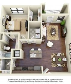 Classic 1 Bedroom Apartment Floorplan - small image | 882 sq. ft. | 3D overhead image | Avana at Western Center | Ft. Worth, TX