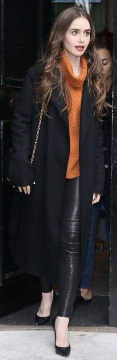 Orange Sweaters, Orange Turtleneck Sweater, Lily Collins Style, Lily Collins Fashion, Fall Winter Outfits, Winter Fashion, Black Pants, Orange Pants, Orange Dress