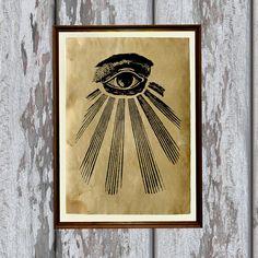 All seeing eye decor Occult art Antique print 8.3 x by artkurka