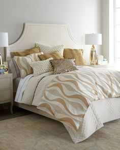 Isabella Collection by Kathy Fielder Harrison Bedding - Horchow Pretty Bedroom, Dream Bedroom, Home Bedroom, Bedroom Decor, Bedroom Ideas, White Bedding, Gold Bedding, Guest Bedrooms, Master Bedrooms