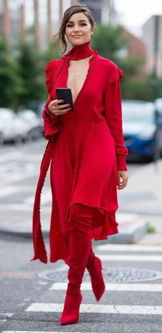 Here's How to Wear Red From Head to Toe Like a Style Star