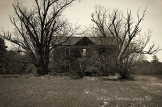 """""""Cold Embrace"""" Like a pair of skeletal hands reaching from an unmarked grave, winter oaks cradle a forsaken North Carolina homestead. (2014)  Photographer's note - This home is located in Northampton County, NC.  For more photos please check out my page at Scott Garlock Photography https://www.facebook.com/scottgarlockabandoned and if you like what you see, I sure would appreciate a good old fashioned """"Page Like"""" Thank you! - Scott"""