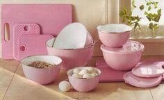 Pink Kitchen Bowls and Cutting Boards