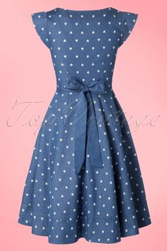 Dancing Days by Banned Judy Swing Denim Skirt 02 39 17855 20160502 50s Dresses, Cute Dresses, Vintage Dresses, Casual Dresses, Vintage Outfits, Short Dresses, Girls Dresses, Summer Dresses, Modest Fashion