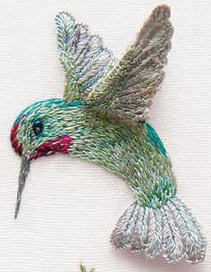 A lovely little embroidered hummingbird, in stumpwork, using EdMar threads (rayon embroidery threads). Love the wing and tail treatment and the dimension!