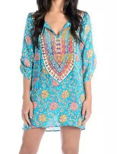 Ethnic V-Neck 3/4 Sleeve Floral Print Loose-Fitting Dress For Women