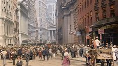 STREET SCENE: Curb Market outside the New York Stock Exchange. Curb Market: a stock market for trading in securities not listed on the New York Stock Exchange 1900 Old Pictures, Old Photos, Funny Pictures, Colorized Photos, Colorized History, Photo Restoration, Modelos 3d, New York Photos, Vintage New York