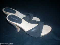 DIESEL WOMENS BLACK SUMMER OPEN TOED DRESS SANDALS HEELS SHOES 37 WOOD LEATHER