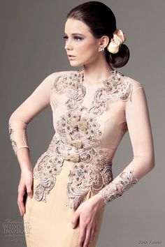A kebaya long sleeves wedding dress. Zery Zamry Bridal Collection 2012.