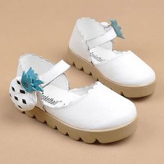 Cute White Cowhide Leather Pageant Girl Girls Birthday Party Shoes SKU-133235