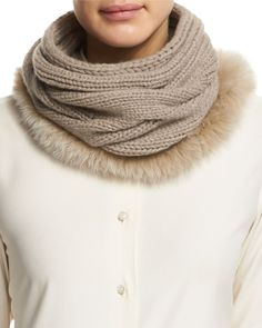 Cashmere Fur-Trim Collar, Cord Melange
