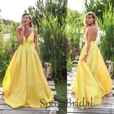 2020 Light Pastel Yellow Sexy Spaghetti Straps V-neck Long Empire Prom Dresses, Unique Prom Dresses, Hoco Dresses, Formal Dresses For Women, Evening Dresses, Quinceanera Dresses, Dance Dresses, Homecoming Dresses, Wedding Dresses, Pastel Yellow